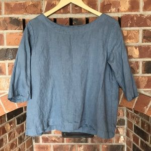 not Perfect Linen dusty blue 3/4 sleeve blouse M